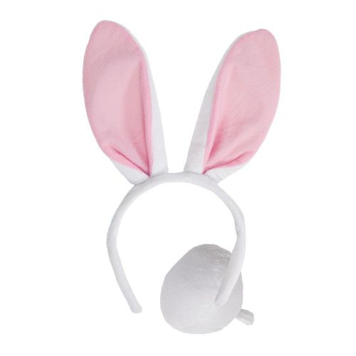Adults Animal Ears & Tail (Adult) for Creature Nature Zoo Farm Fancy Dress White Bunny